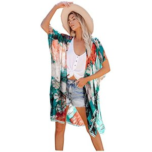 L9WEI Damen Robe de plage bikini en mousseline de soie – Poncho de plage – Robe d'été courte – Élégante