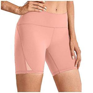Leggings de fitness taille haute pour femme – Couleur unie – Pour le sport, le yoga, la course à pied, la gym, le contrôle du ventre – Avec poches L Rose 33