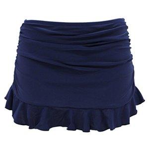 SHEKINI Jupe de Bain Femme Bas De Maillot Jupette Bikini avec Shorts de Bain intégré et Volants froncés Summer Beach Bikini Skirt Bottom pour Femme Maillots De Bain (Medium, Bleu foncé)
