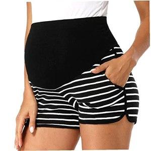Short De Remise En Forme Pour La Grossesse Maternité Sports Shorts Soft Yoga Pantalon Court Pour Femmes Enceintes Avec Poches Noir L