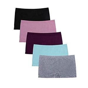 URIBAKY 5PC Femmes sous-vêtements élastiques Sexy sous-vêtements de Couleur Unies, Culotte Dentelle Strings sous-vêtement Lingerie Culottes Taille Haute Slip Sport Grande Taille