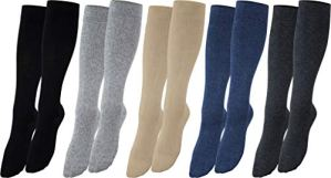 Vitasox 44450-58 Chaussettes de contention, chaussettes de voyage en coton, unisexe chaussettes de compression 4 paires noires/anthracites 43/46