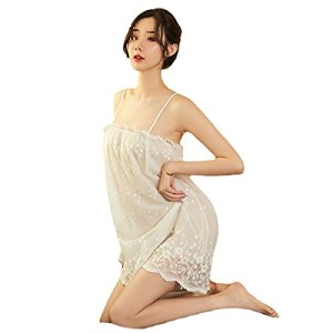 XWHSCXYBZ sous-vêtements en Dentelle Suspendue Cou de Cols Transparent Pyjamas de la Ceinture de Marin de Lait