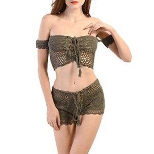 Yousiju Maillot de bain à la mode pour femme Bikini creux sexy d'été sans coussin de poitrine à armatures (Color : Green, Size : F)