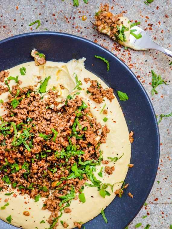 Hummus med kjøttdeig - oppskrift / Et kjøkken i Istanbul