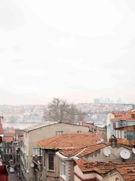 Utsikt fra takterassen nyttårsaften 2016 / Et kjøkken i Istanbul