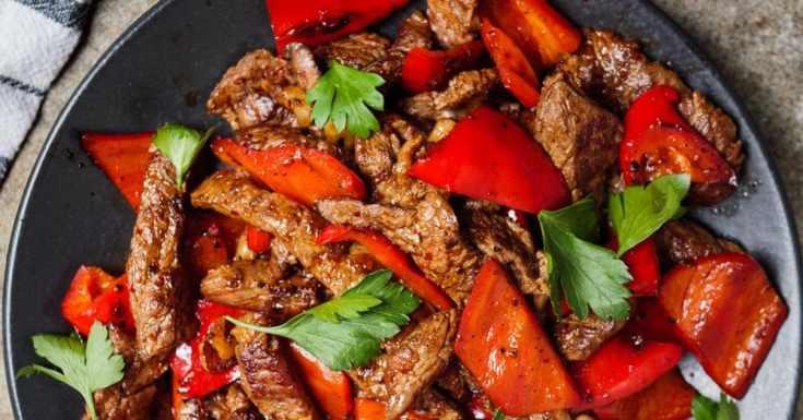 Biffstrimler med paprika (rask middag)