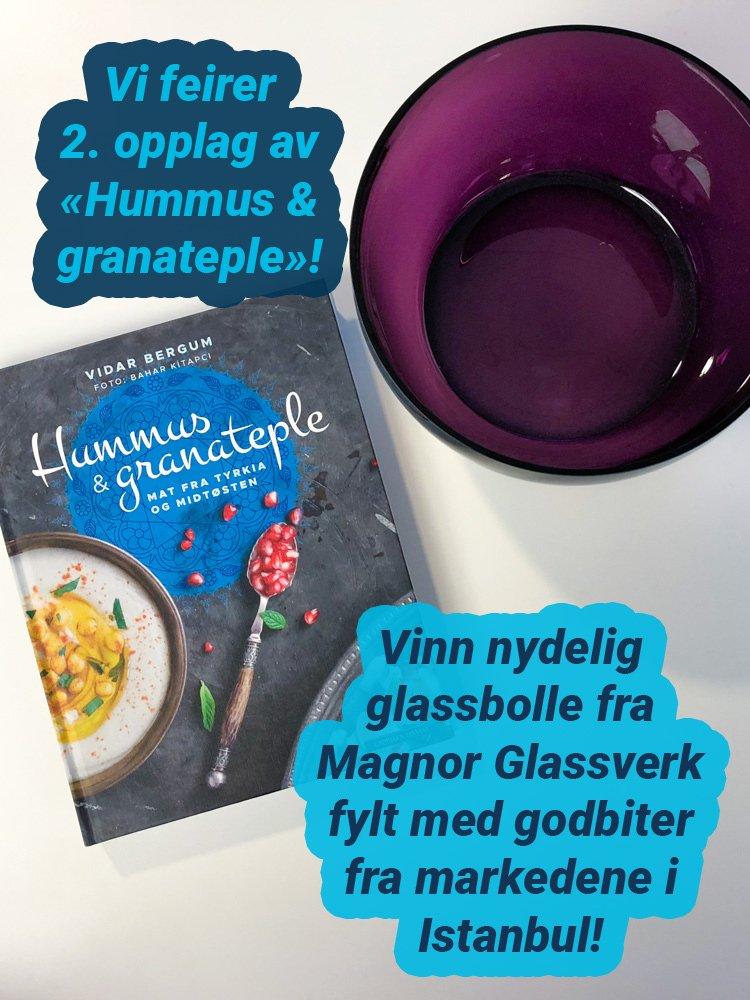 Vi feirer 2. opplag av «Hummus & granateple». Vinn nydelig glassbolle fra Magnor Glassverk fylt med godbiter fra markedene i Istanbul!