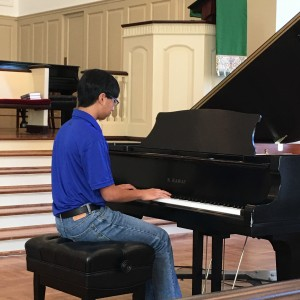 """LUIANGELO MONTES, STUDENT OF BRIAN BRAQUET, PLAYS """" FANTASIA IN d"""" BY MOZART."""