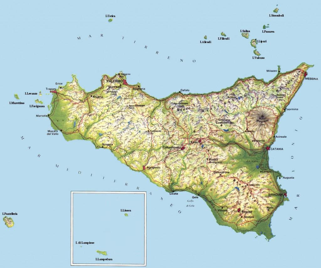 Carta geografica Sicilia
