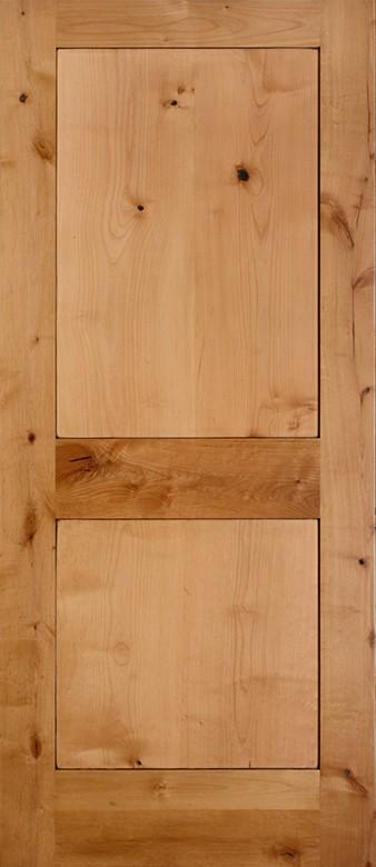 EL8402 Knotty Alder 2 Panel Shaker Square Sticking Door