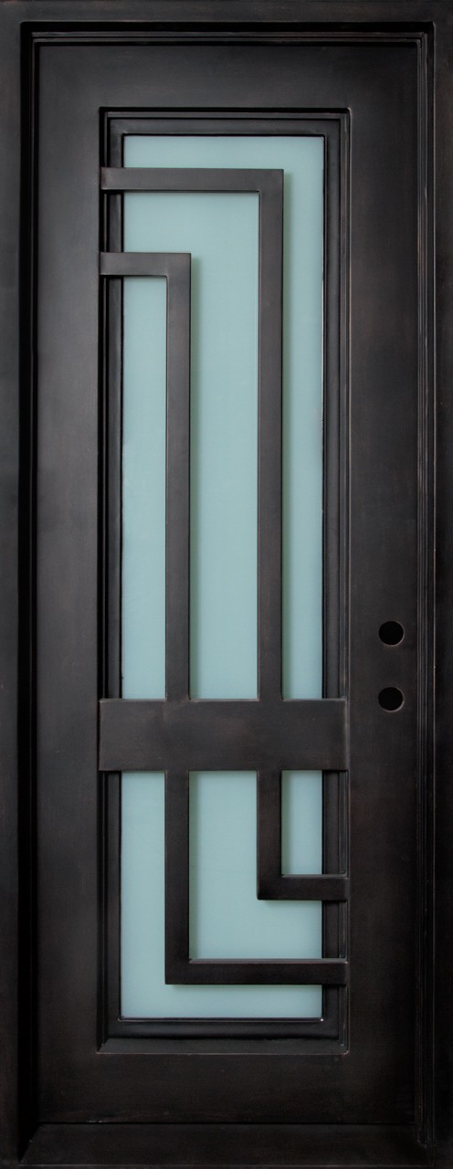 Malibu Wrought Iron Door Frame And Glass With L Shaped