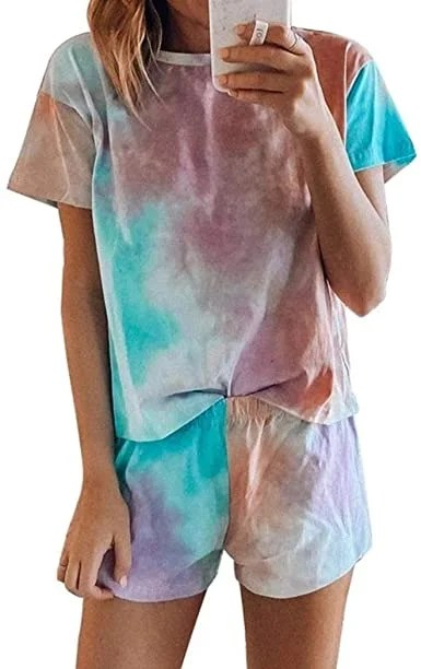 Blibea Women's Tie Dye Printed Tee and Shorts Pajamas Set