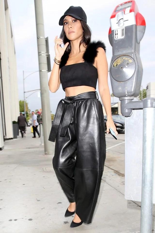 Kourtney Kardashian Rocks Wide Legged Leather Pants And A