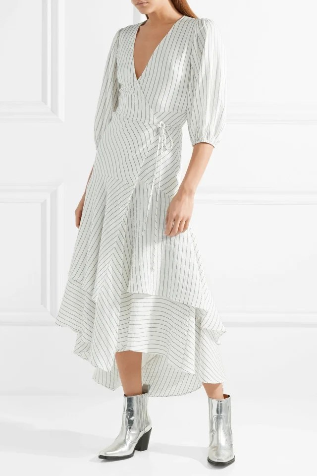 Ganni striped midi dress
