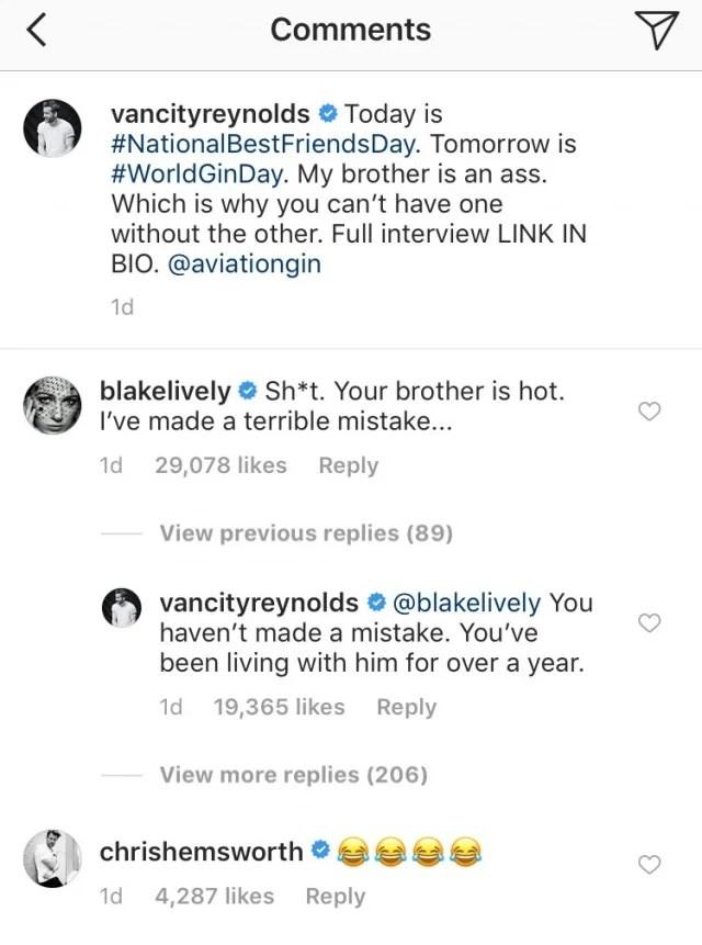 Ryan Reynolds Blake Lively Instagram Comments