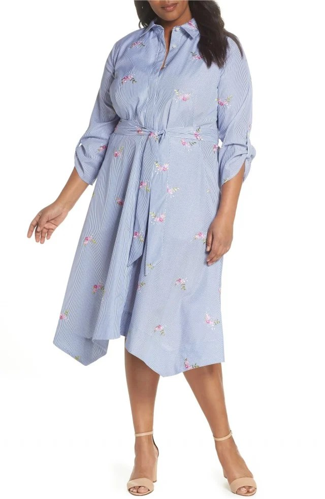 Tahari blue shirt dress