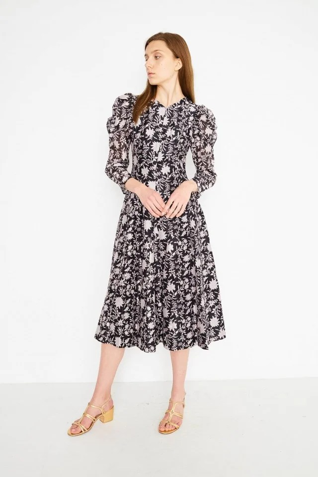 Ulla Johnson black and white printed midi dress