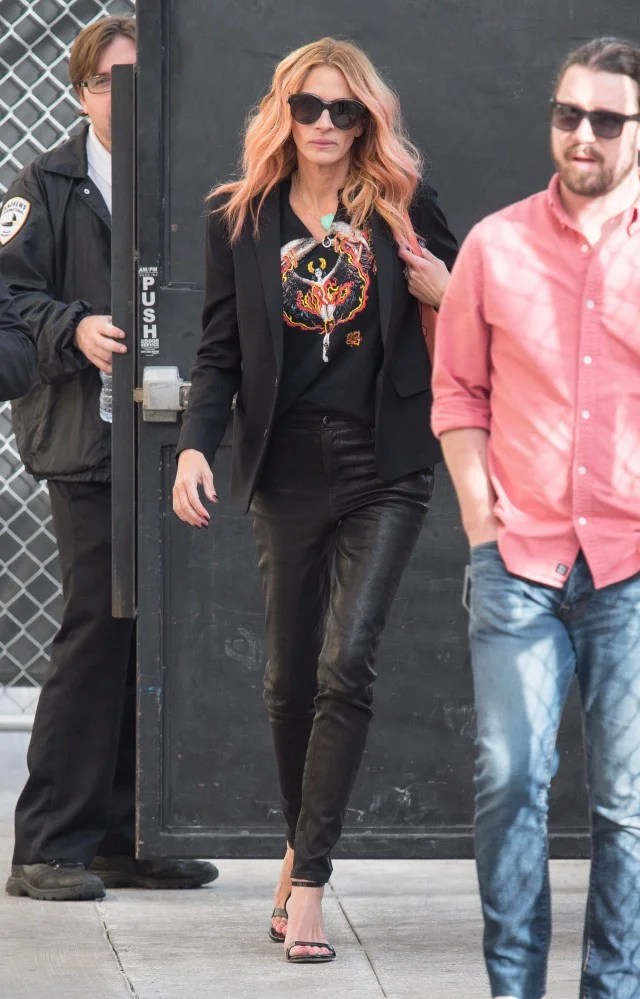 Julia Roberts Pink Halloween Hair Matches Her Chic