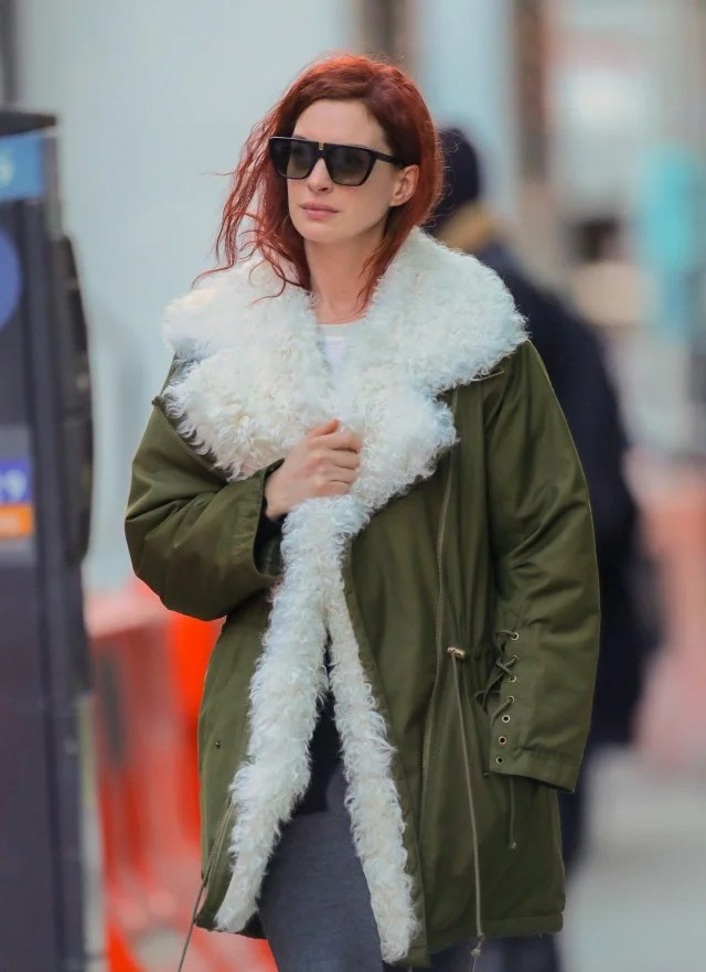 Anne Hathaway Debuts Bright Red Hair See Her New Look
