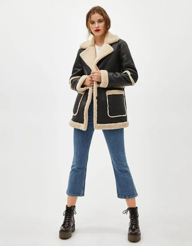 Bershka black leather coat with shearling
