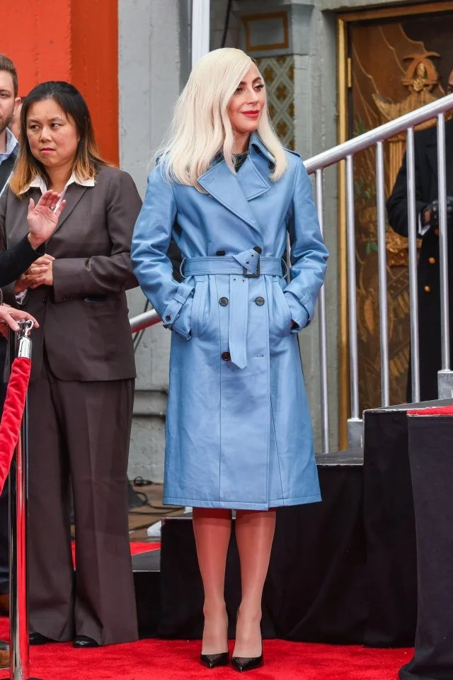 Lady Gaga blue coat at Sam Elliott's hand and footprint ceremony