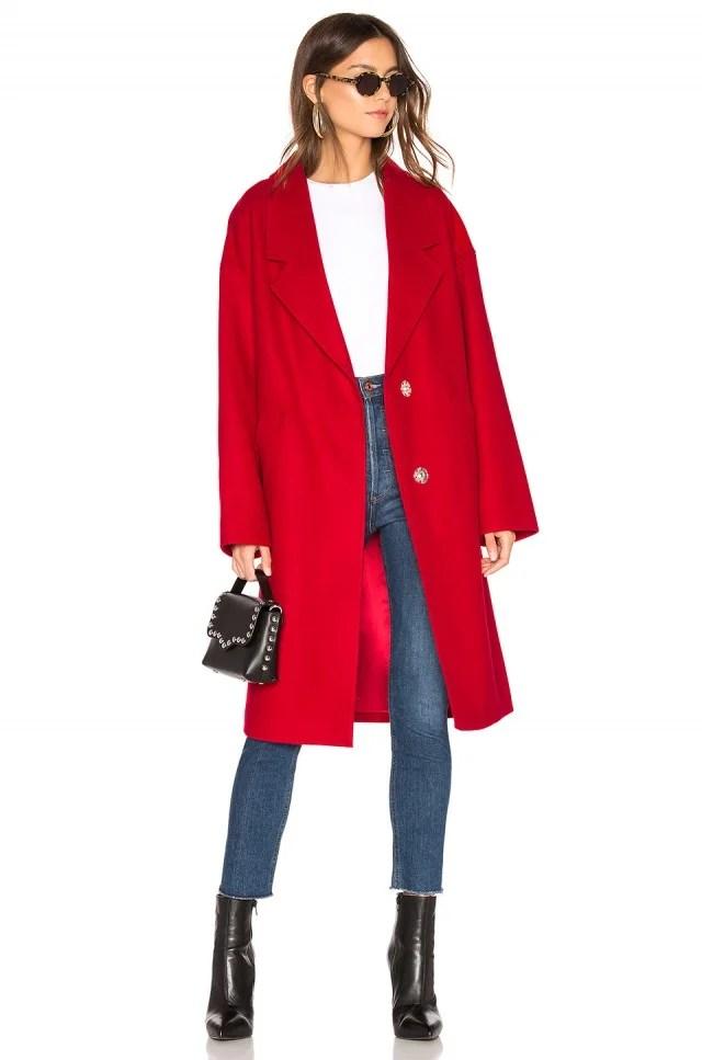 Kendall + Kylie red wool coat
