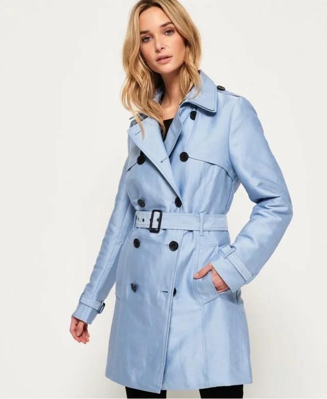 Superdry light blue trench coat
