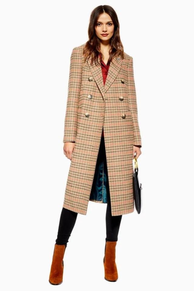 Topshop check coat