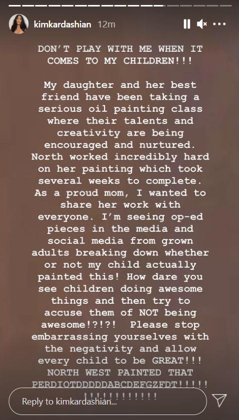 Resultado de imagen para Kim Kardashian Calls Out Fans Who Don't Believe Daughter North's Artwork Is Actually Her Work