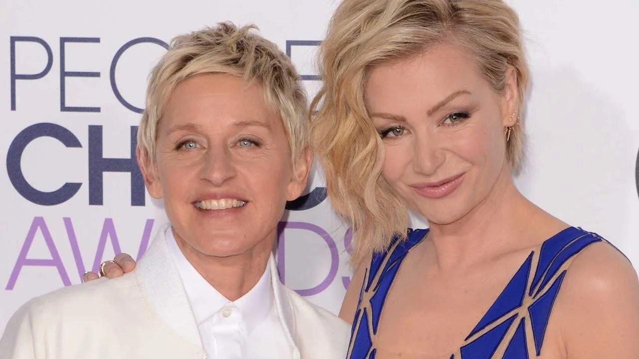 Ellen DeGeneres Shares a Kiss With Wife Portia de Rossi ...