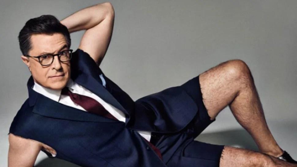 Stephen Colbert Sports Sleeveless Suit Jacket Bares Abs