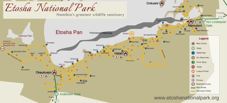 Mapa de Etosha. Fuente https://www.etoshanationalpark.org
