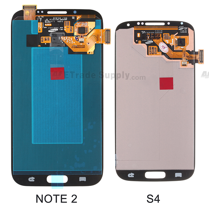 Samsung Galaxy S4, Note II digitizer and LCD screen back part comparison