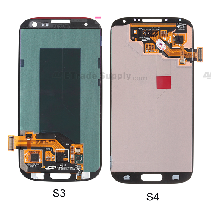 Samsung Galaxy S4, S3 LCD Screen and Digitizer Assembly back part compare
