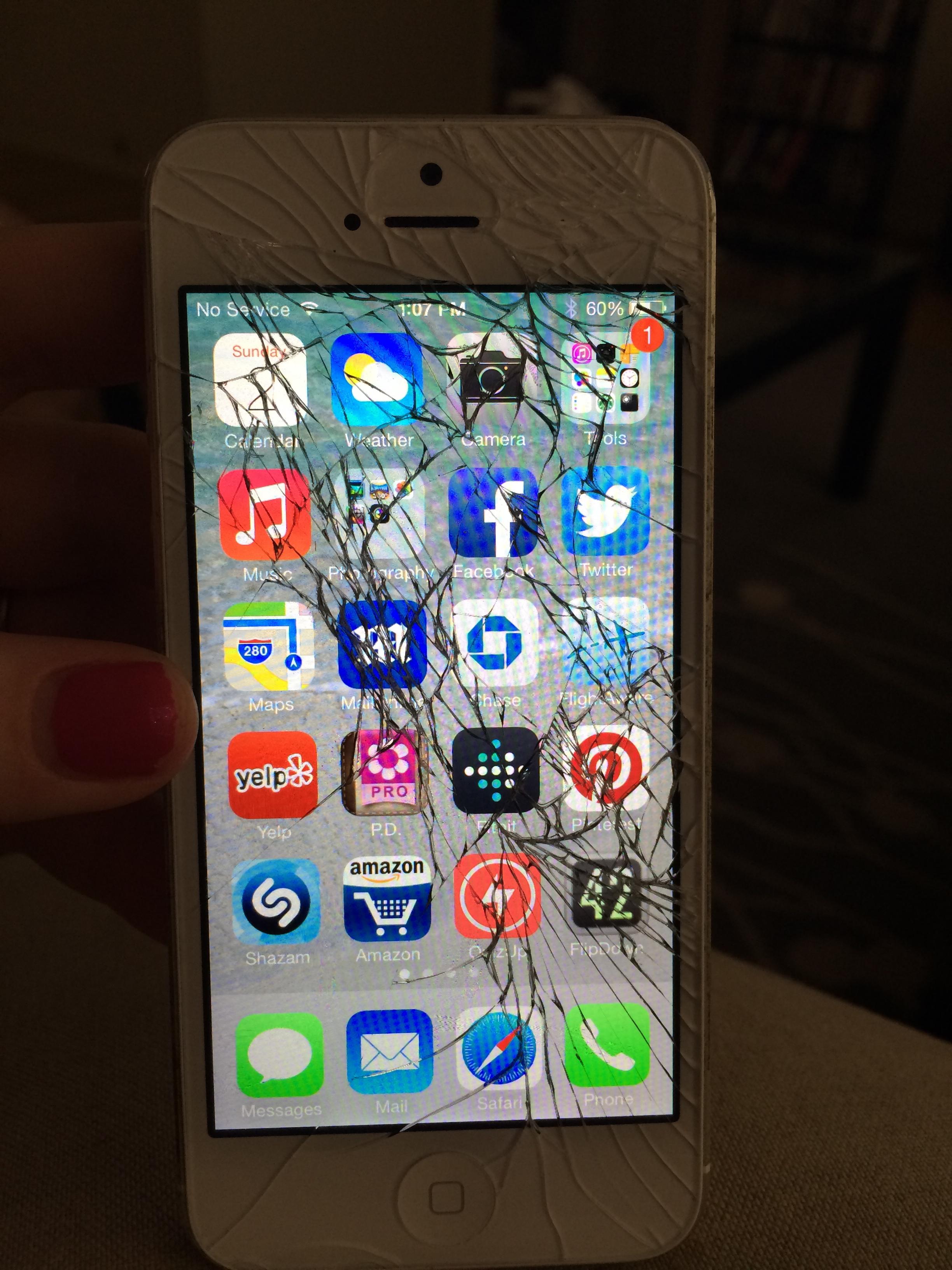 iphone 5s broken screen