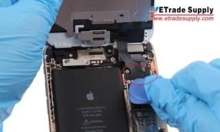 Disconnect the digitizer flex cable connector, LCD display flex cable connector, front facing camera connector and home button flex cable connector