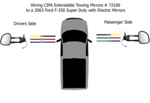 Wiring Diagram for the CIPA Extendable Towing Mirrors