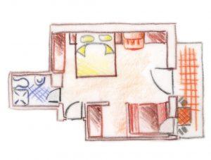 piantina disegno camera doppia panoramica adige