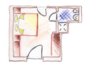 piantina disegno camera doppia laugen