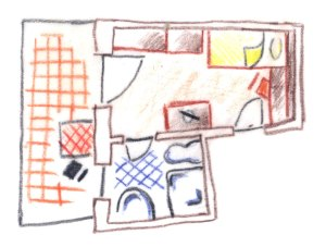 piantina disegno camera singola
