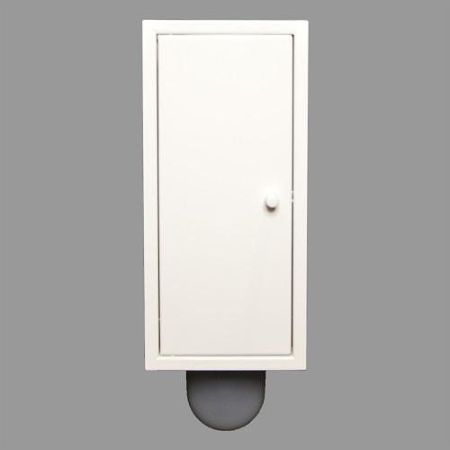 Brush-up wit gepoedercoat (RAL 9003): Inbouw toiletborstel is een systeem dat naast het het inbouw toiletframe kan worden geplaatst.