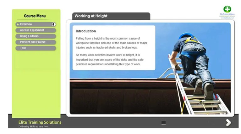 Working at height E-Learning Training Course