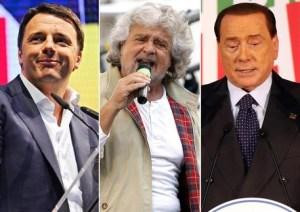 Renzi, Grillo e Berlusconi.