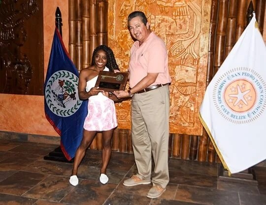 Olympian Simone Biles receives symbolic keys to San Pedro during Belize visit
