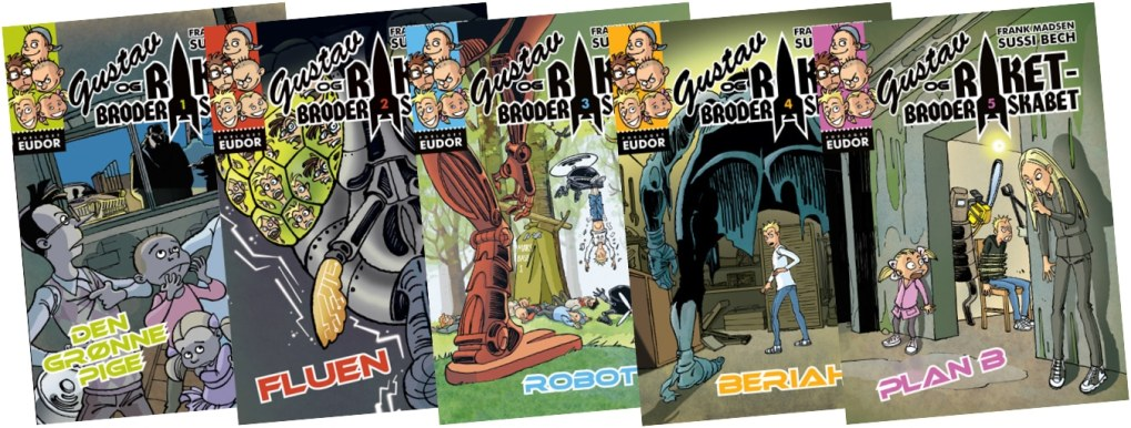 """Opslag fra det næste bind i science-fiction-bogserien for børn, """"Gustav og Raketbroderskabet"""". Sussi Bechs tegninger mangler endnu akvarelfarverne."""