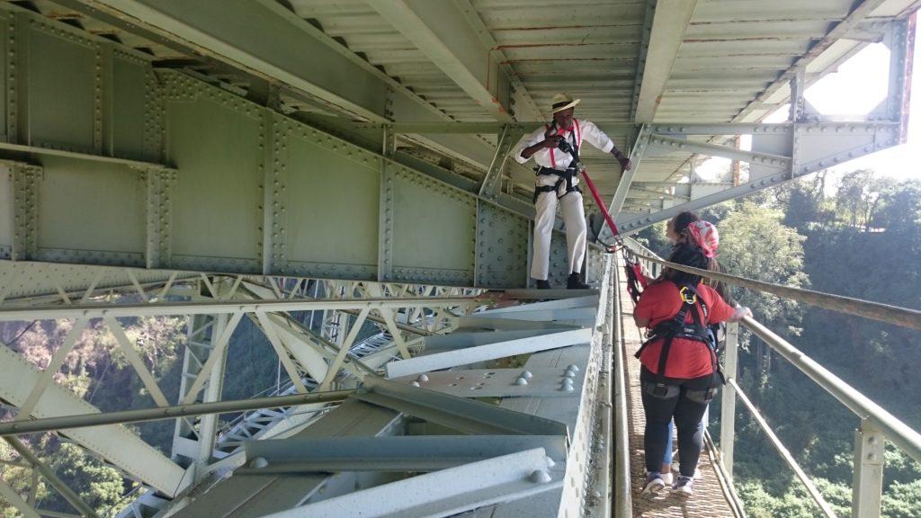 Walking under the Victoria Falls Bridge (Copyright: Eugene Yiga)