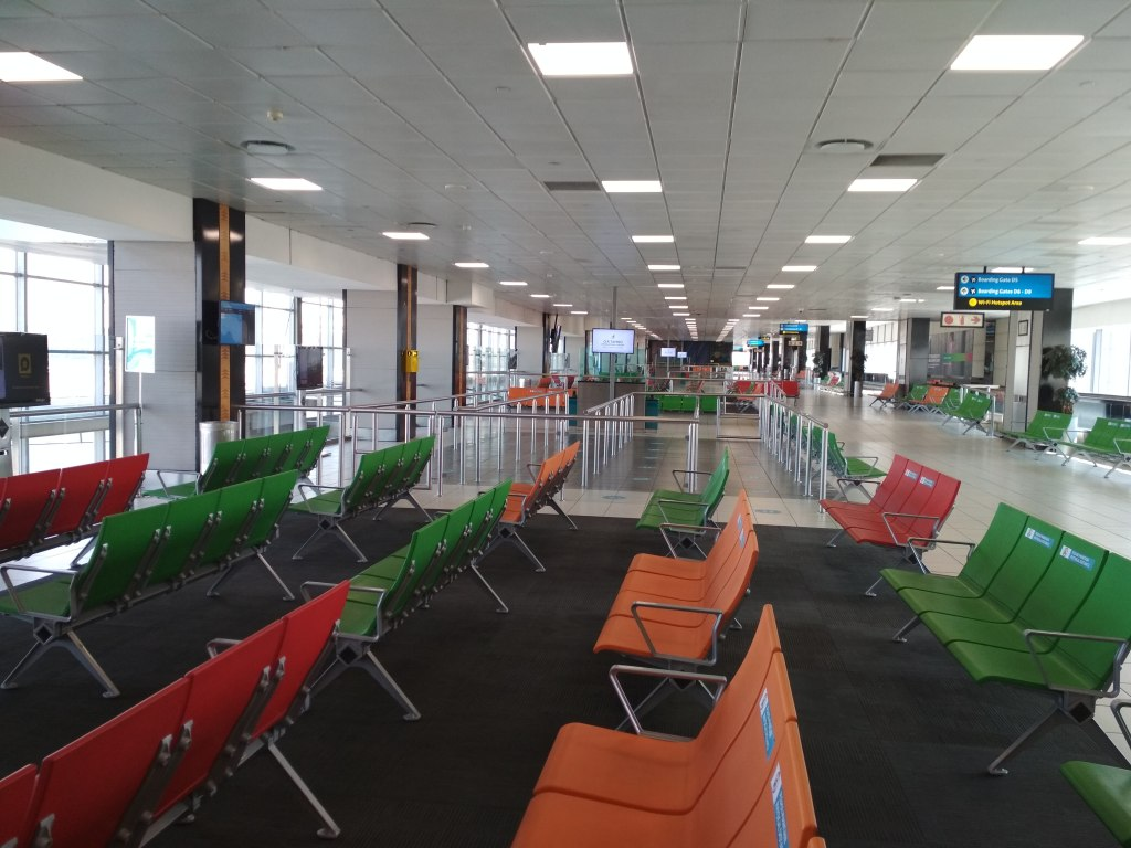 Empty seats at O.R. Tambo International Airport in Johannesburg (Copyright: Eugene Yiga)
