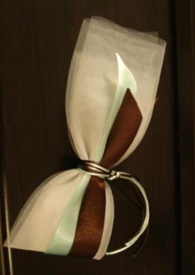 Μπομπονιέρα από Γαλλικό Τούλι, Διπλή Κορδέλα, Διπλό Σατέν Κορδόνι