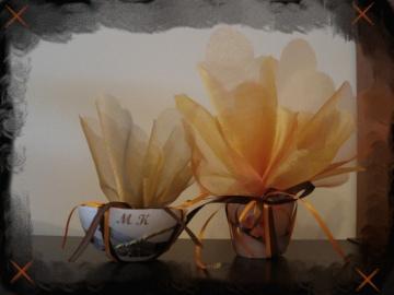 Μπομπονιέρα με Κουφωτό Κερί, Κορδέλα Σατέν Καφέ